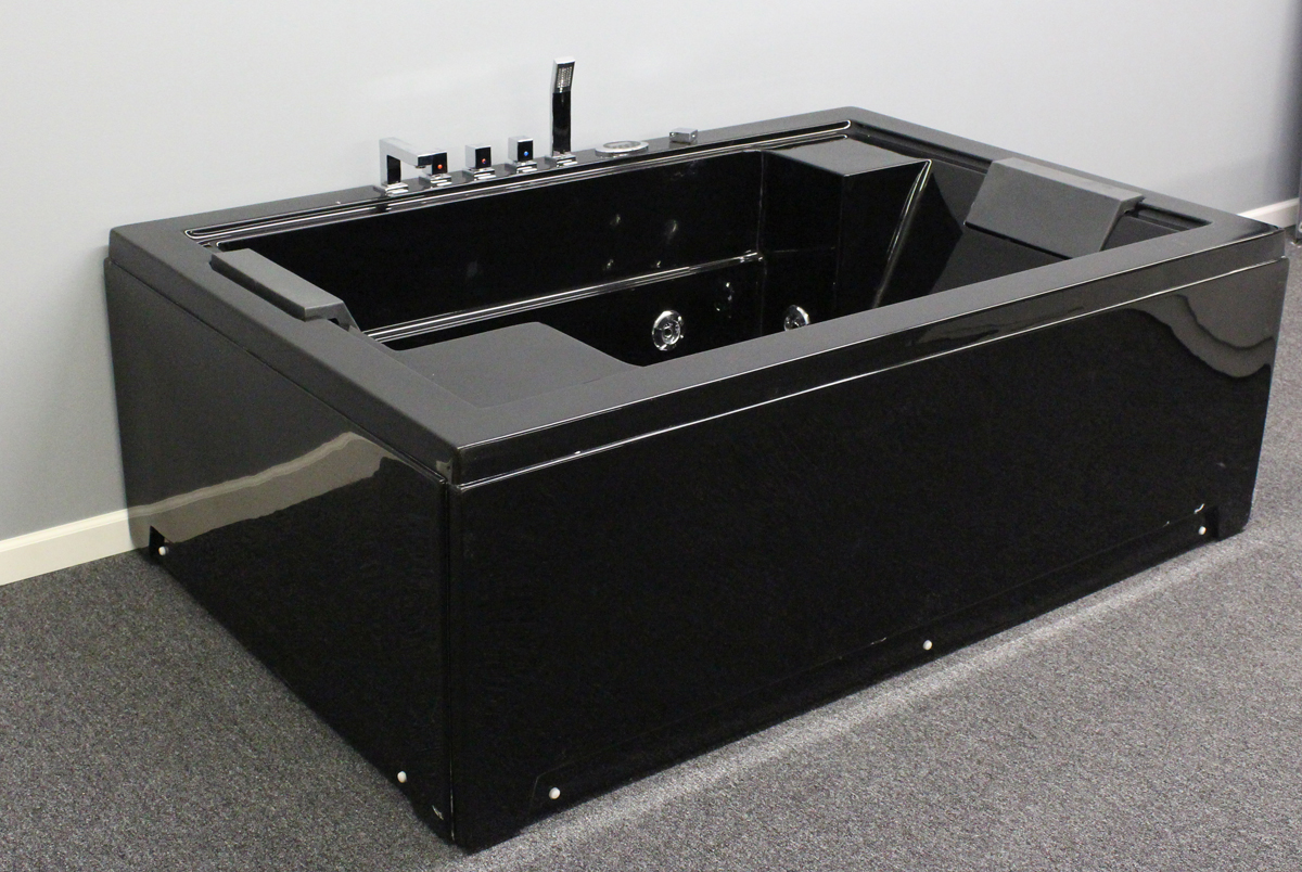 air jet bubble massage big bathtub black color 2 person