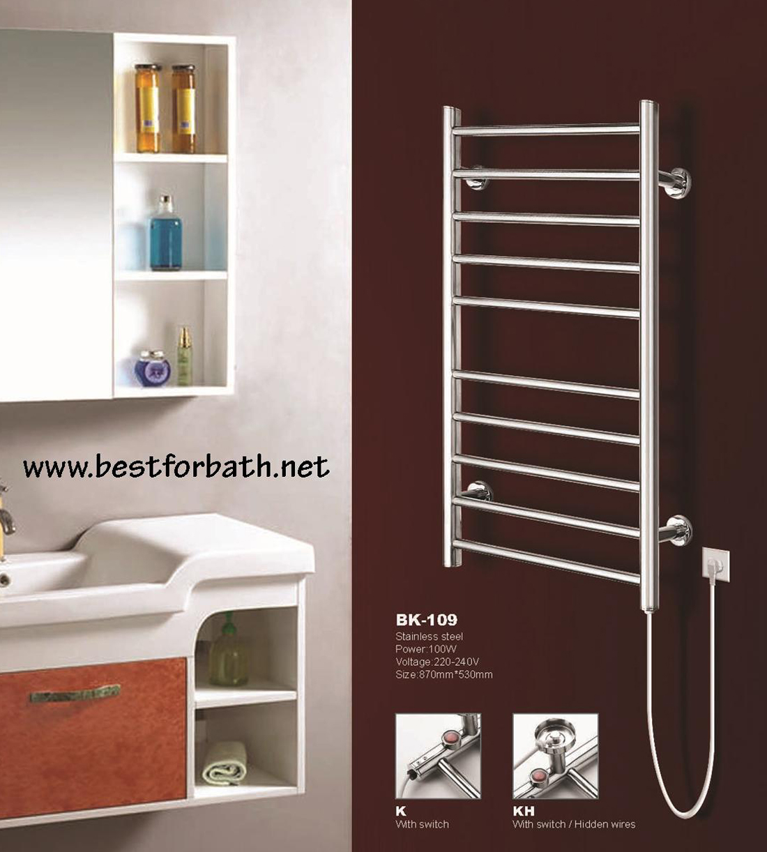 Oil filled electric towel rails for bathrooms -  Wall Mount Electric Towel Warmer Bk 109 Image 6