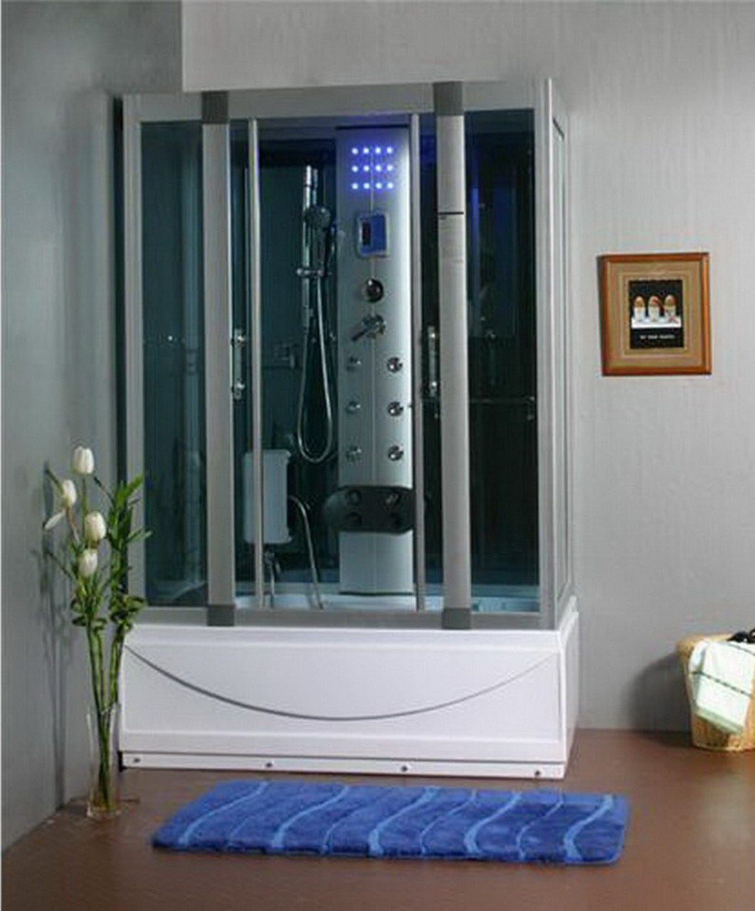 steam shower room with deep whirlpool tub wair bluetooth - Steam Shower Units