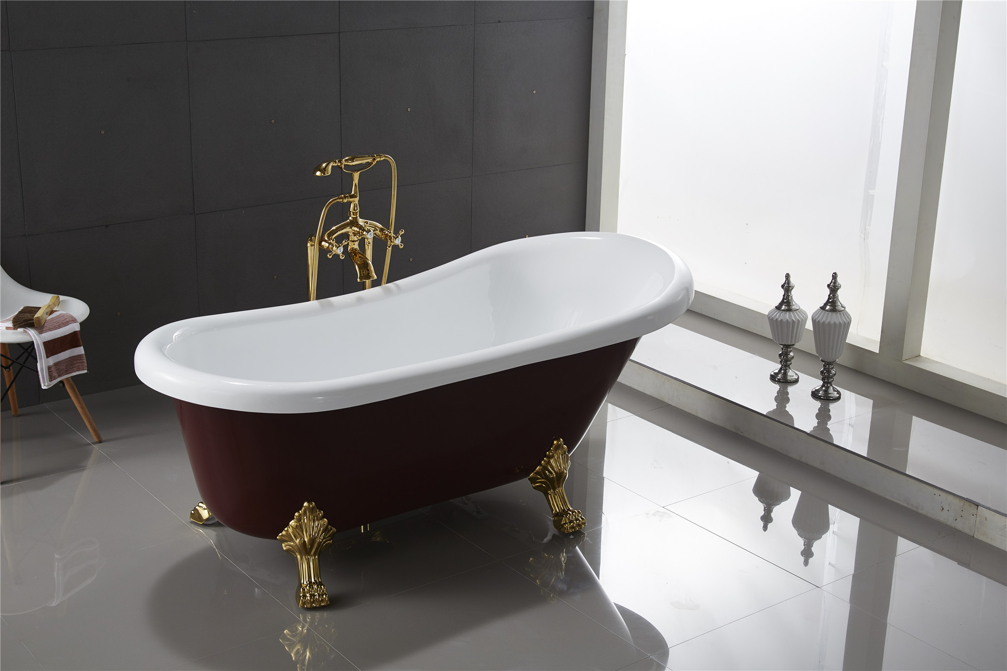 Classic Clawfoot Tub w/ Regal brass Lion Feet, Gold telephone style ...