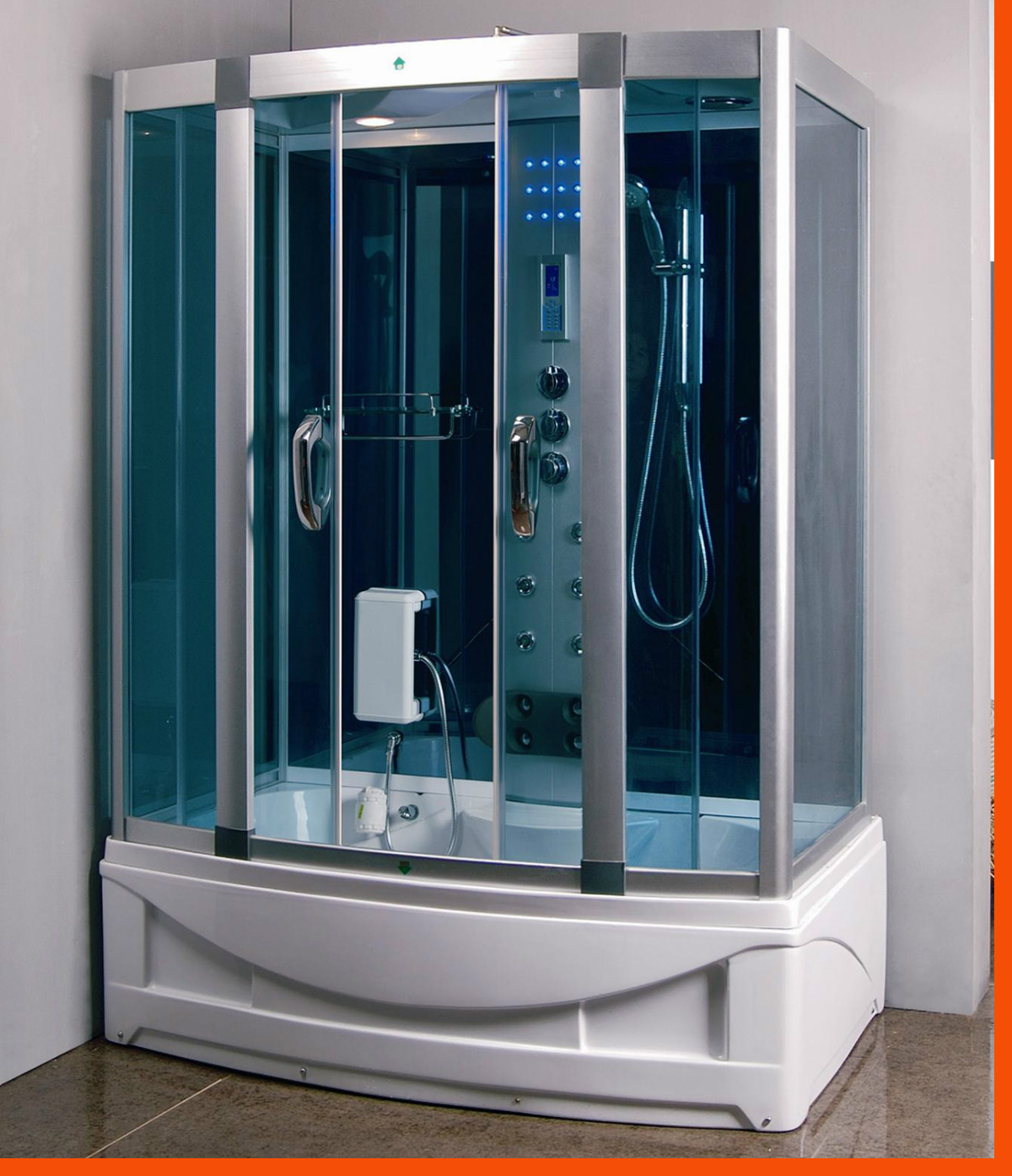 Steam Shower Room With deep Whirlpool Tub.BLUETOOTH. 9001 HEAVY DUTY ...